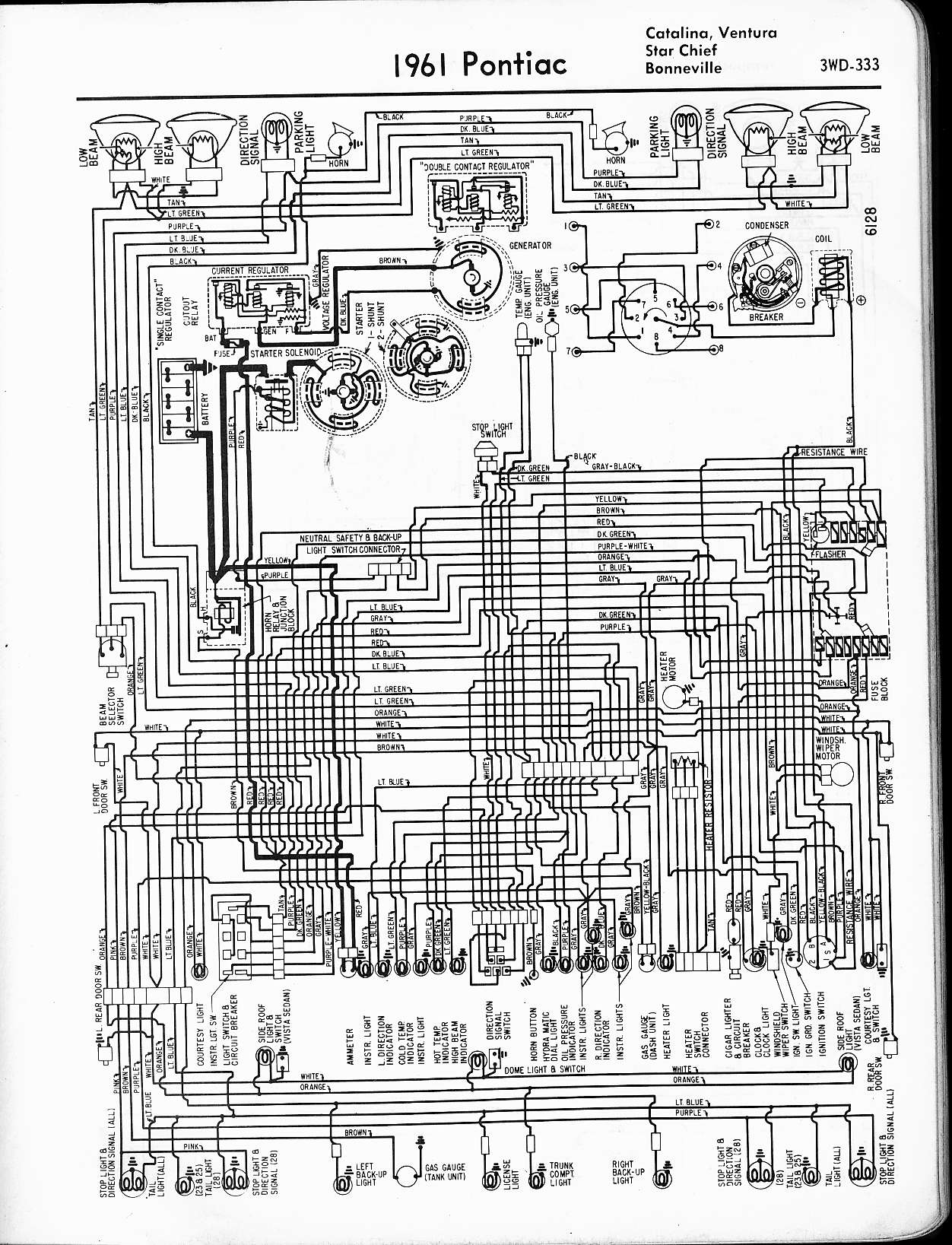 "1968 68 Pontiac Tempest GTO LeMans Full Color Laminated Wiring Diagram 11/"" X 17/"""