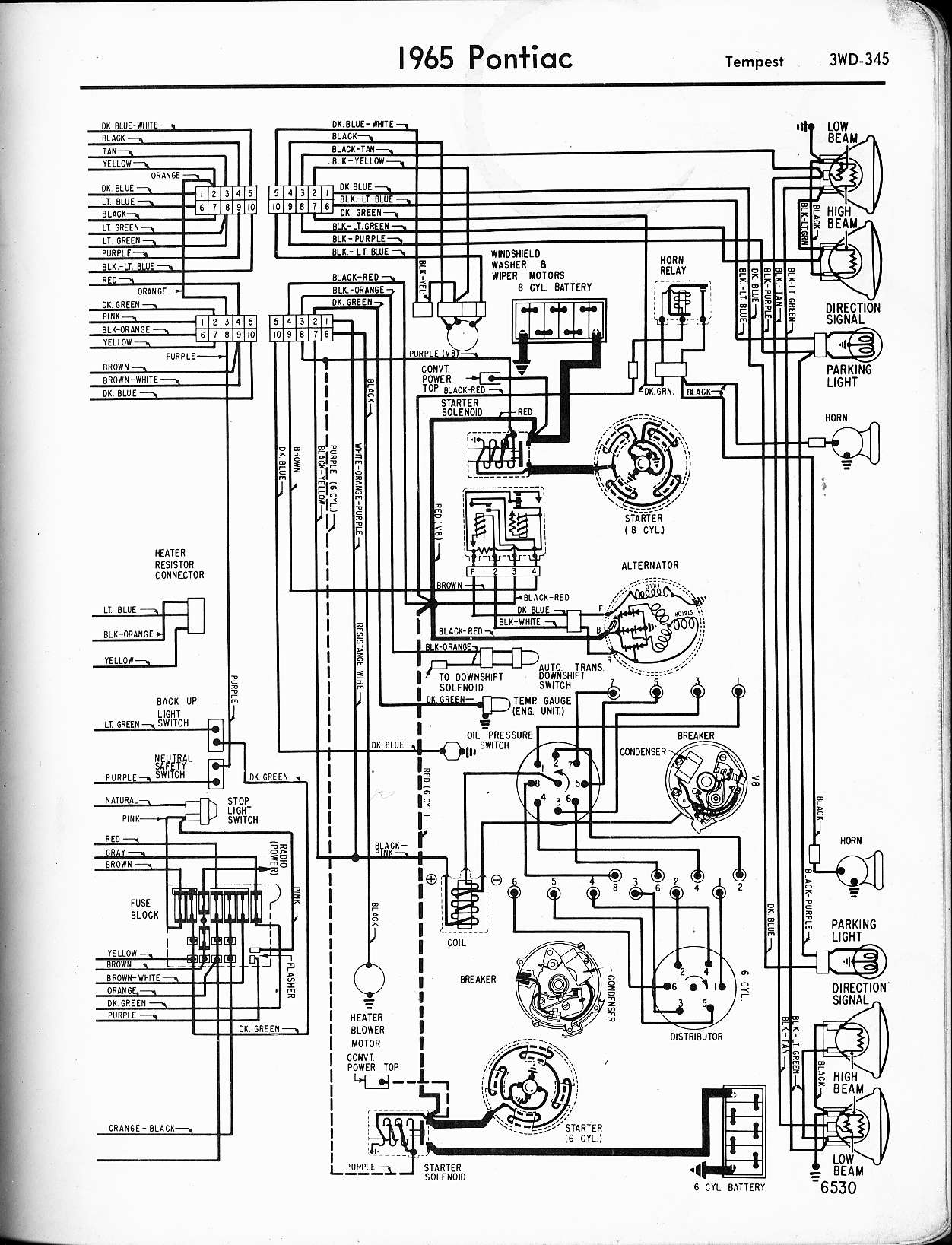 1968 Gto Wiring Diagram Schemes 1973 Camaro Air Conditioning Wallace Racing Diagrams Engine 1965 Tempest Right Page
