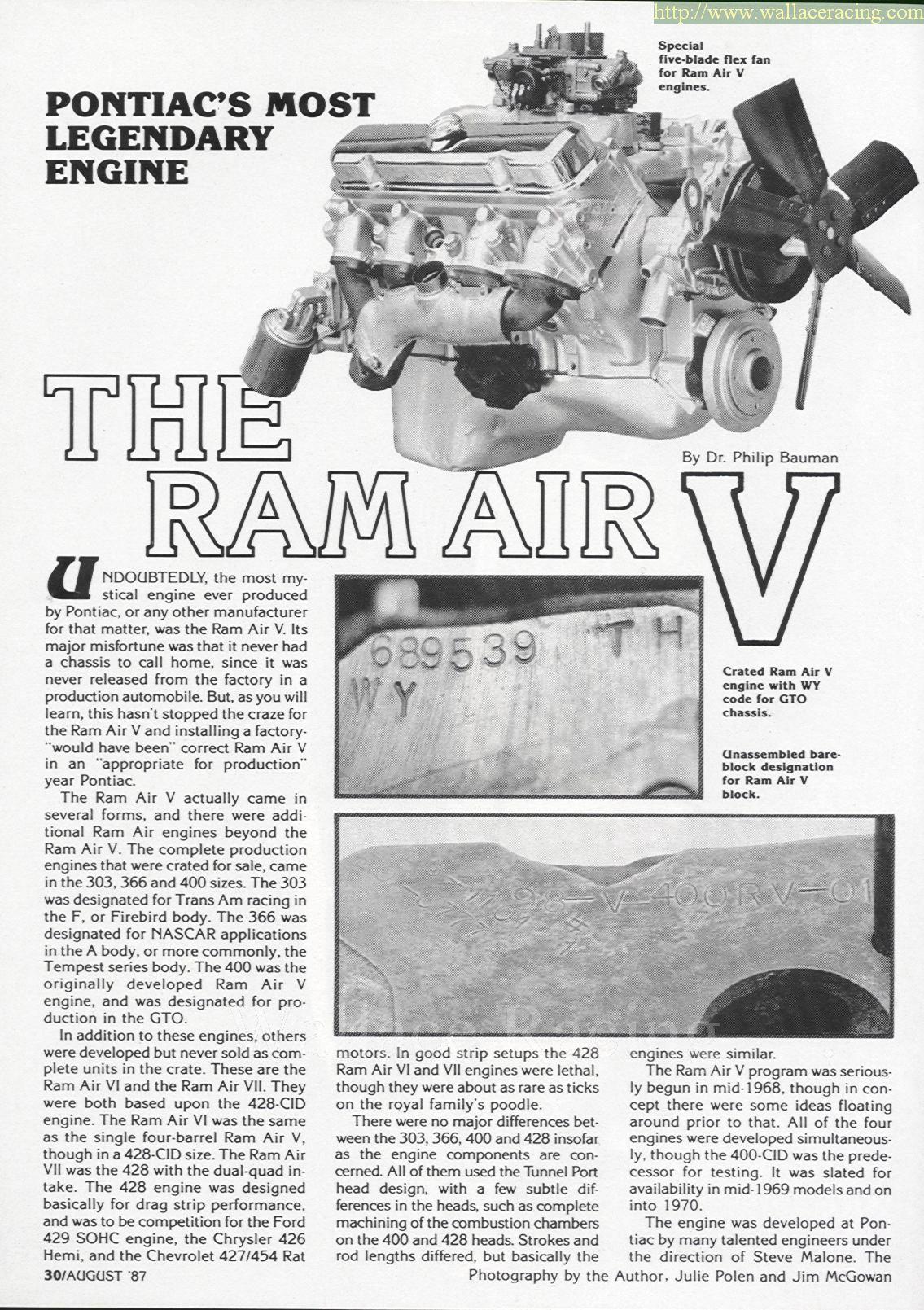 Pontiac Ram Air V Story - Wallace Racing